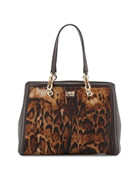 Class Roberto Cavalli Constance Fur Trim Leather Tote Bag Taupe Brown