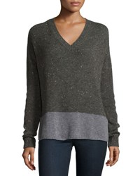 Christopher Fischer V Neck Boyfriend Sweater Heather Gray Peat