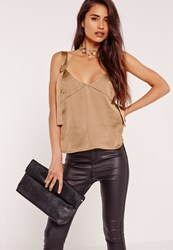 Missguided Satin D Ring Detail Cami Gold Gold