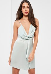 Missguided Tall Exclusive Silver Satin Wrap Cami Mini Dress