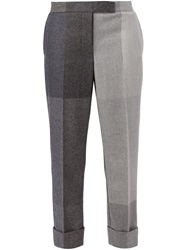 Thom Browne Cropped Checked Trousers Grey