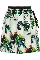 Proenza Schouler Pleated Printed Silk Crepe Mini Skirt Jade