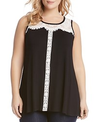 Karen Kane Plus Lace Trim Tunic Black