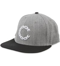 Crooks And Castles Embroidered Chain Logo Snapback Cap Grey Black