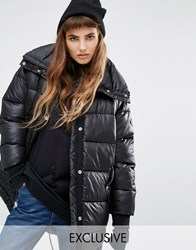 Puffa Oversized Longline Padded Jacket With Fishtail Detail Black