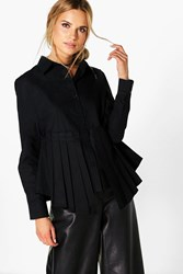Boohoo Pleated Peplum Long Sleeve Shirt Black