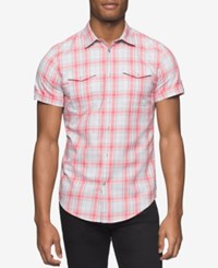 Calvin Klein Jeans Men's Twill Plaid Short Sleeve Shirt Coral Pink