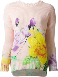 P.A.R.O.S.H. Flower Print Sweater Pink And Purple