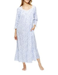Eileen West Cotton Long Sleeve Printed Ballet Gown White