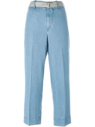 Incotex Belted Chambray Trousers Blue
