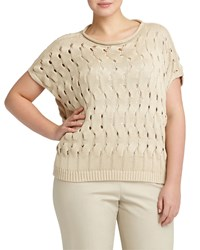 Lafayette 148 New York Plus Open Wave Stitch Sweater Soy