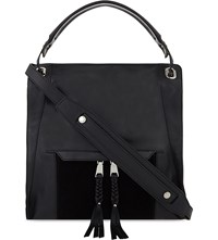 Sandro Adria Leather Shoulder Bag Noir