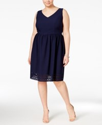 Trixxi Plus Size Lace Up Textured Fit And Flare Dress Navy