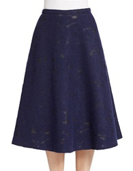 424 Fifth Wool Blend Jacquard Skirt Evening Blue