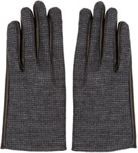 Lanvin Grey Wool And Leather Gloves