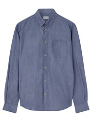 Jigsaw Cotton Poplin Hidden Button Collar Shirt Dusk