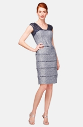 Kay Unger Lace And Jacquard Sheath Dress Navy