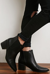 Forever 21 Faux Leather Chelsea Booties Black