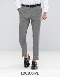 Heart And Dagger Skinny Trousers In Monochrome Herringbone White