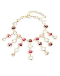 Oscar De La Renta Crystal Fringe Statement Necklace Pink