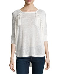 On The Road York Fringe Trim 3 4 Sleeve Tee White