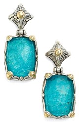 Women's Konstantino 'Iliada' Rectangle Double Drop Earrings Blue Green