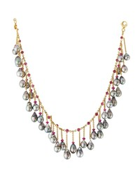Assael 18K Tahitian Pearl And Ruby Fringe Necklace Women's
