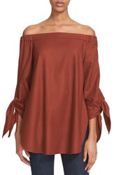 Tibi Women's Off The Shoulder Gabardine Tunic Burnt Paprika