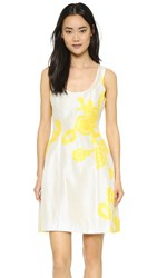 Prabal Gurung Printed Silk Dress Lemon Ivory