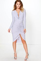Boohoo Long Sleeved Cowl Neck Midi Dress Grey