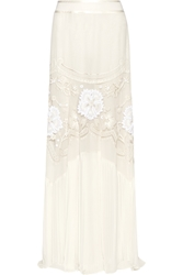 Roberto Cavalli Embroidered Tulle And Silk Georgette Maxi Skirt