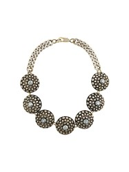 Jean Paul Gaultier Vintage Disk Statement Necklace Metallic