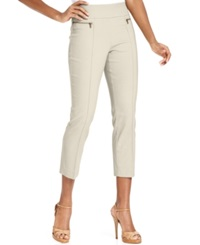 Style And Co. Zip Pocket Pull On Capri Pants Stonewall