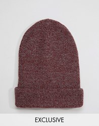 Reclaimed Vintage Oversized Beanie In Burgundy Red