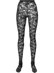 Dolce And Gabbana Floral Lace Tights Black