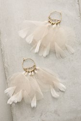 Anthropologie Feathered Tulle Earrings Gold