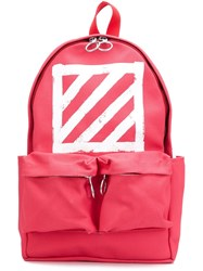 Off White 'Brushed Diagonals' Backpack Red