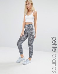 New Look Petite Metallic Leopard Print Leggings Grey