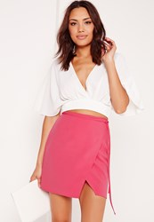Missguided High Waisted Wrap Skirt Pink Pink