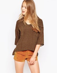 Influence Ditsy Print Blouse Brown