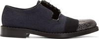 Jimmy Choo Navy Python And Felt Degrade Alaric Derby Shoes