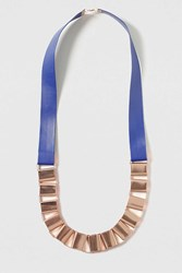 Topshop Long Boxy Chain Rope Necklace Navy Blue