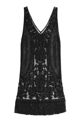 Polo Ralph Lauren Embellished Silk Dress Black