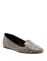 Dolce Vita Brannon Embossed Leather Loafers Grey Snake Print