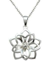 Macy's Openwork Flower Pendant Necklace In Sterling Silver