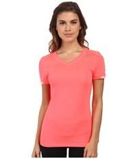 Adidas Outdoor Techfit S S Shirt Flash Red Light Flash Green Women's Short Sleeve Pullover Orange