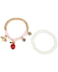 Betsey Johnson Gold Tone Charm And Faux Pearl Stretch Bracelet Set No Color