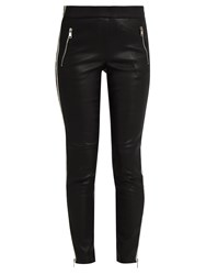 Alexander Mcqueen Side Striped Leather Trousers Black Multi