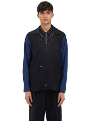 Yang Li Riders Contrast Sleeve Jacket Navy