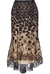 Oscar De La Renta Crochet Appliqued Lace And Silk Organza Skirt Black